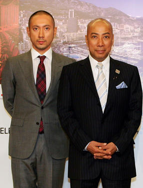 Ebizo Ichikawa and Danjuro Ichikawa at the press conference of &quot;Kabuki In Monaco&quot; in Japan.